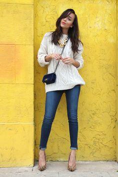 Ashley Madekwe style 2012, fisherman sweater, skinny jeans