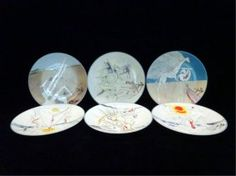 SALVADOR DALI CERAMIC PLATES, SET OF 6 PAINTED WITH
