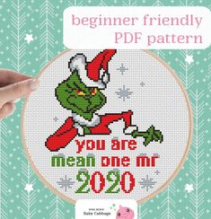 Xmas Cross Stitch, Simple Cross Stitch, Cross Stitching, Grinch Stole Christmas, Christmas Cross, Christmas Ornament, Ornaments, Funny Cross Stitch Patterns, Cross Stitch Designs