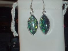 LOOK!!!!!A BREATHTAKING PAIR OF STERLING SILVER GENUINE TRIPLE AUSTRALIAN BLACK OPAL DANGLE EARRINGS