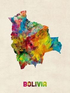 Bolivia Watercolor Map Poster By Michael Tompsett