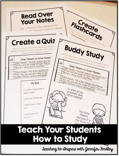 Teach your students study habits with these four study strategies. Grab the free example posters on this post.