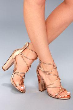 f1c1f27d806a Beau Rose Gold Patent Dress Sandals. Rose Gold PumpsGold Prom ShoesGold  High HeelsWhite ...