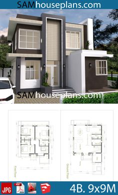 House Plans with 4 Bedrooms - Sam House Plans - House Plans with 4 Bedrooms – Sam House Plans - House Outer Design, Simple House Design, Minimalist House Design, Modern Courtyard, Courtyard House Plans, Basement House Plans, Bedroom House Plans, Simple House Plans, Modern House Plans