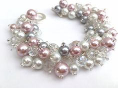 Pink White and Gray Pearl Bracelet Bridesmaid Jewelry by KIMMSMITH