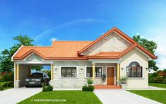 Print Modern Bungalow House Design With Three Bedrooms - Ulric Home Modern Bungalow House Design, 4 Bedroom House Designs, Three Bedroom House Plan, Bungalow House Plans, Village House Design, House Front Design, Small House Design, One Storey House, Model House Plan