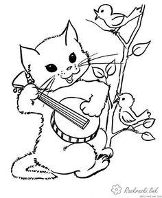 Farbung Kurzhaar Katze Vogel Singen Baum Balalaika