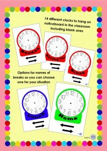 Classroom Noticeboard Wall Clocks for different time periods for students to learn to read the clock by KR Learning