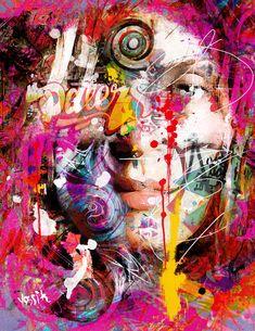 yossi original art - chaotic mind, portrait. giclee print embellished