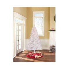 White Artificial Christmas Tree Clear Lights Decoration Home 6.5 Ft Tall Holiday #HolidayTime