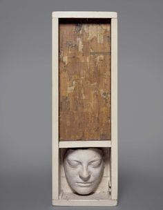 """Jasper Johns,  """"Untitled,"""" 1954 Wood, plaster, paint, photomechanical reproductions on canvas, glass, and nails"""
