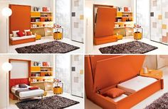 Not all sofa beds are alike, as evidenced by the Adam horizontal wall bed unit from Bonbon. Designed to fit into an office or den setting, the actual bed pulls down from the wall to cover the sofa. The clever setup is a bit different than the typical convertible sofa, but the Murphy bed-type solution still allows for a multi-functional space.