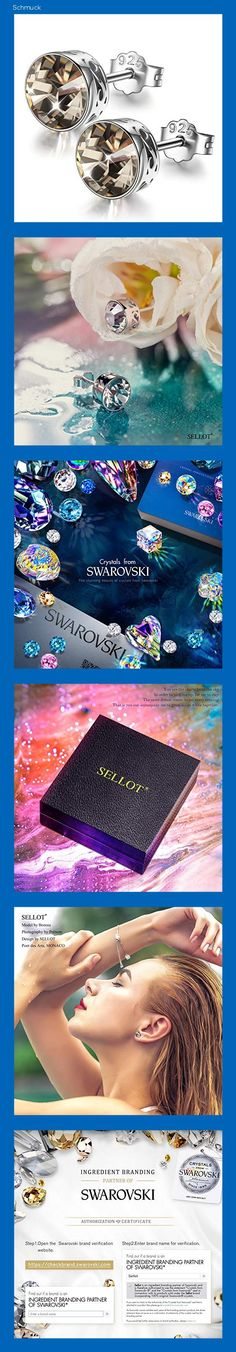 Sellot Ohrstecker für Frauen Geschenke für Frauen Kristalle von Swarovski 925 Sterling Silber Ohrringe Kristall Silber Schatten Ohrringe Geburtstagsgeschenke für Mama mit Schmuckschatullen - 14hb
