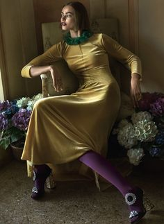 Obsessed with this look!  Alberta Ferretti's daffodil-yellow velvet dress, Barneys New York, NYC. Dries Van Noten necklace. Rings by Sabine Mueller and Monika Jakubec. Falke tights. Miu Miu shoes.
