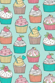 Cupcakes Wallpaper, Food Wallpaper, Flower Phone Wallpaper, Iphone Wallpaper, Fabric Wallpaper, Cute Patterns Wallpaper, Cute Wallpaper Backgrounds, Cute Wallpapers, Cupcake Pictures