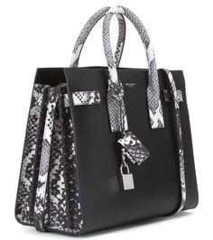 Sac De Jour Small black, ivory and grey leather tote