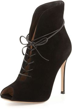 Gianvito Rossi Suede Peep-Toe Lace-Up Bootie, Black #shoes #heels