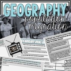 This population migration activity focuses on the period in U.S. History, the Great Migration.This lesson is appropriate for both Geography and U.S. History classes. This lesson makes a great distance learning activity. In this lesson students will:Analyze why populations increase or decrease in var... Middle School Geography, Teacher Hacks, Teacher Stuff, The Great Migration, Comprehension Questions, History Class, Learning Resources, Social Studies, Vocabulary