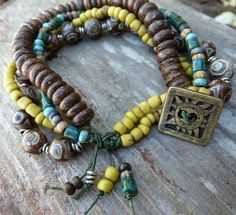 Treasured Multi Strand Bracelet with Mustard by GraceElements, $48.00