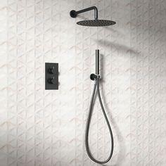 Zara Concealed Shower Bath Valve Dual Outlet Round Matt Black