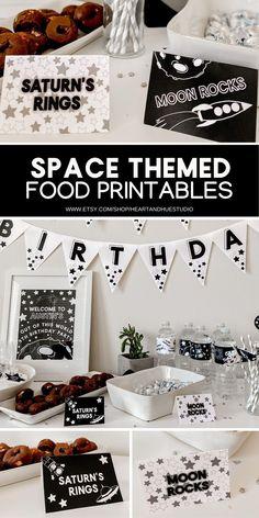 2nd Birthday Party Themes, Birthday Invitations Kids, Boy Birthday Parties, Birthday Party Decorations, Food Decorations, 4th Birthday, Outer Space Decorations, Birthday Ideas, Outer Space Party