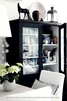 black glass front cabinet with white interior Glass Front Cabinets, Black Cabinets, Cheap Cabinets, Black And White Interior, Black White, Matte Black, Interior Decorating, Interior Design, Deco Design