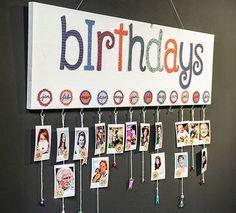 Bastelidee für Geburtstagskalender der Familie. Fotowand für Geburtstage