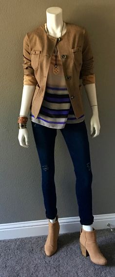 cabi fall '16 Penny Blazer, Underline Top and Dusk Destructed Skinny Jean with my favorite booties. http://shaynigeorge.cabionline.com #cabiootd #cabiclothing
