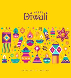 Illustration about Diwali Hindu festival greeting card with modern elements. Illustration of fireworks, icon, decoration - 96436904 Deepavali Greetings Cards, Diwali Greeting Card Messages, Happy Diwali Cards, Diwali Greetings Images, Happy Diwali Status, Happy Diwali Pictures, Diwali Wishes Messages, Happy Diwali Quotes, Greeting Card Video