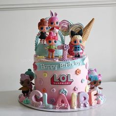 Birthday cake 2019 Doll Birthday Cake, Brithday Cake, Funny Birthday Cakes, Lol Doll Cake, Barbie Cake, Cupcakes, Cupcake Cakes, Cake Design Inspiration, Surprise Cake