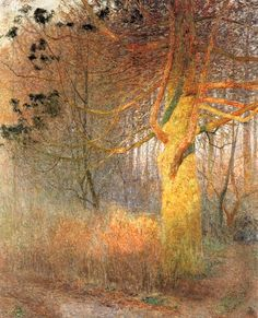 Emile Claus - The Tree In The Sun, 1900. It is the quality of the light that attracts me to these paintings by the Belgian Emile Claus (1849-1934).