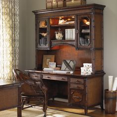 Bal Harbor Isle of Palms Credenza & Deck in Sienna Rosewood #desk #office #homeoffice #bookcase #tropical #storage #beachhouse #lakehouse #homedecor #interiors #interiordesign