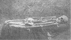 """Mounds, Megaliths and Giants of North America: September 2012 - Image from Postcard, showing """"7ft Skeleton"""" (without shins or feet)"""