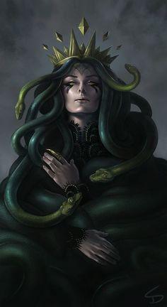 Medusa - Digital Art by Sara K. Diesel