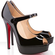 Christian Louboutin Bana 140mm Patent Leather Peep Toe Mary Jane Pumps Black