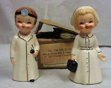 Vintage Lego Doctor & Nurse Salt & Pepper Shakers With Original Box