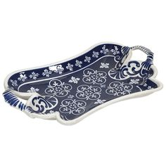 """In a style reminiscent of New Burleigh and antique transferware, the Tallapoosa tray has a subtle, sophisticated oriental inspiration mixed with modern technique that makes it a one of a kind accent for any home. Dimensions: 20""""H x 12""""W x 2.5""""L Material: Ceramic Shipping: Ships within 5-7 days. US only. Return: This item is return eligible within 14 days."""