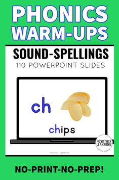 "100 Phonics Practice Slides featuring common phonograms (phonics "" hunks and chunks"") and sounds featured in K-2 curriculum! Use these in your whole or small groups everyday as quick warm-ups OR set-up as a literacy center. No prep, no print, just open and it's READY!"