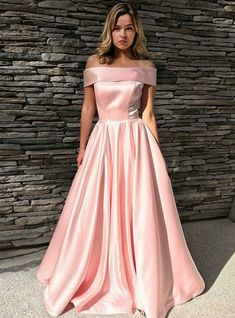 A-Line Off-the-Shoulder Pink Satin Long Prom Dress With Pockets