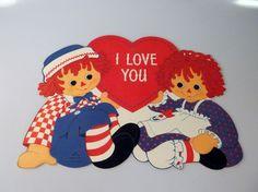 Rare Raggedy Ann Andy Hallmark 1976 Valentine's Day Die Cut Cardboard Decoration