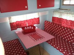 Vintage camper interior~I would have used a white~tiny red circle trim on the curtains~