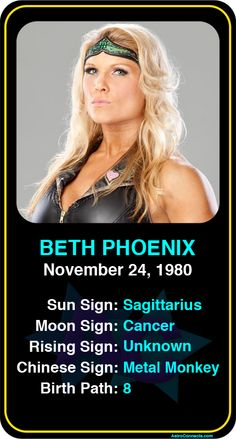 #Famous #WWE #Wrestlers: Beth Phoenix - Check out more famous WWE wrestlers here! https://www.astroconnects.com/galleries/celeb-featured-galleries/famous-wwe-wrestlers #astrology #wrestling #bethphoenix