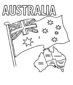 the australian flag flying day coloring for kids