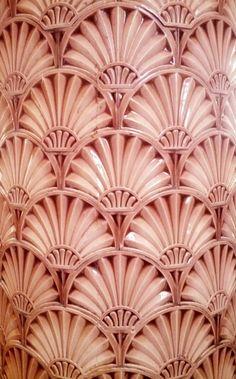 Art Deco fan pattern sighting: Column tiling at Liverpool's Victoria Building