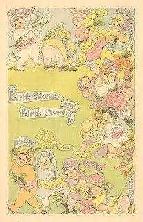 Antique Images: Free Baby Clip Art: 1915 Vintage Baby Keepsake Book Birth Stones and Birth Flowers
