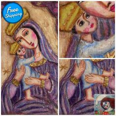 Mother of Tenderness - religious painting naive art folk art painting Religious Paintings, Mary And Jesus, Virtual Museum, Naive Art, Mother And Child, Metallic Paint, Virgin Mary, Watercolor Paper, My Images