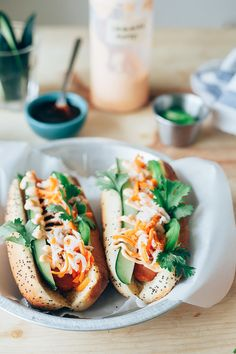 Outrageous collection of gourmet hot dog recipe variations | This Bahn Mi Hot Dog recipe from My Name is Ye