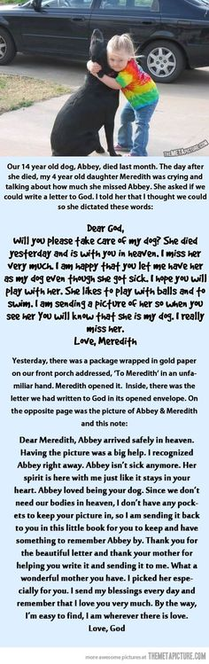 Sweet story. Little girl writes letter to God about her dog