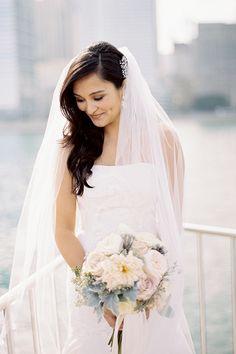A garden rose and dahlia bouquet | Brides.com