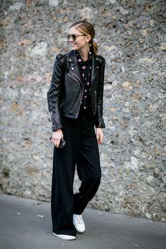 wide leg pants-sneakers-black moto jacket-black wide leg pants-printed blouse-work outfit-pfw street style-ps